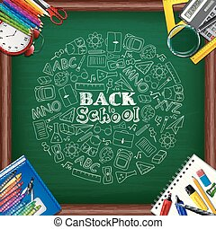 Back to school background with school supplies and doodles element on chalkboard
