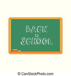 Vector illustration of Back to school text design - handwritten chalk sign on green blackboard.