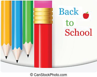 Back to School .with colorful penci - Vector Illustration of...