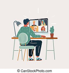 Vector illustration of Back view of young man work remotely at home video conference remote call to corporate group. Meeting online,videocall, group discuss online concept with screen of teamwork on white background.