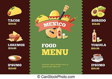 Mexican Food Vector Illustrations Set With Logo Template For - Delivery menu template