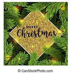 Background with Christmas tree branches