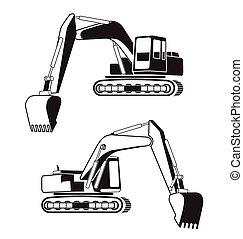backhoe - Vector illustration of backhoe icon