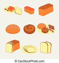 Vector illustration of bakery and pastry products on white background