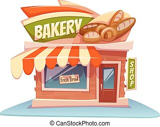 Vector illustration of bakery building with bright banner