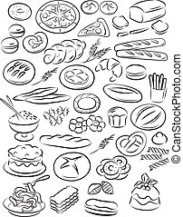 bakery - vector illustration of bakery collection in black...