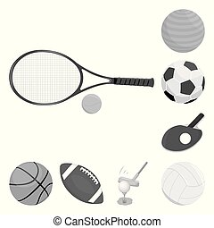 Vector illustration of ball and soccer logo. Collection of ball and basketball stock symbol for web.