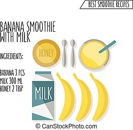 vector illustration of banana smoothie with milk recipe hand drawn in flat design style with shadow