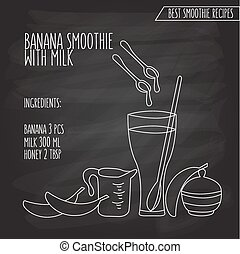 vector illustration of banana smoothie with milk recipe hand drawn in flat linear design style on blackboard background