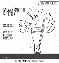 vector illustration of banana smoothie with milk recipe hand drawn in flat linear design style on textured background