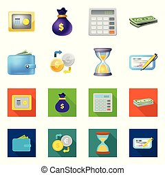 Vector illustration of bank and money sign. Set of bank and bill vector icon for stock.