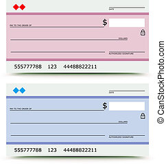 bank check - Vector illustration of bank check in two...