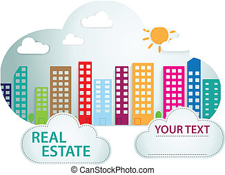 Banner with real estate in cloud