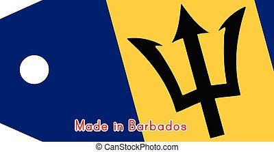 vector illustration of Barbados flag on price tag with word Made in Barbados da India isolated on white background