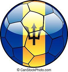 Barbados flag on soccer ball