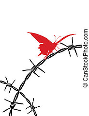 barbed wire and butterfly - vector illustration of barbed ...