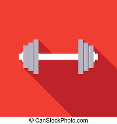 vector illustration of barbell in flat design