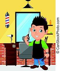 Barber boy cartoon