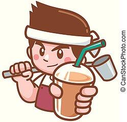 Vector illustration of Barista Cartoon Character presenting coffee