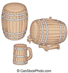 Vector illustration of barrel, mug on white.