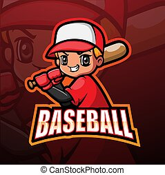 Baseball boy player esport logo design