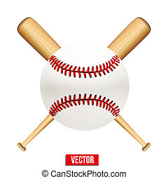 Vector illustration of baseball leather ball and wooden...