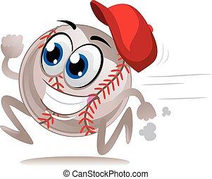 Vector illustration of cute baseball ball cartoon running