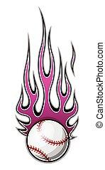 Vector illustration of baseball softball ball with simple flame