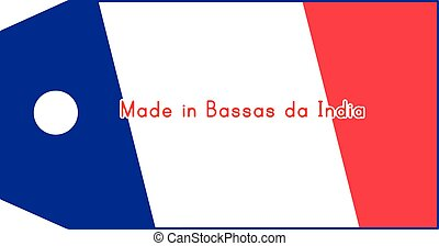 vector illustration of Bassas da India flag on price tag with word Made in Bassas da India isolated on white background