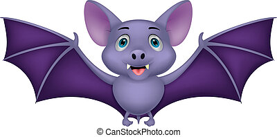 Bat cartoon flying - Vector illustration of Bat cartoon...