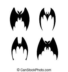 vector illustration of bat in flight. Black flittermouse silhouette. Set of different shapes full face