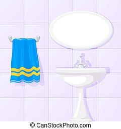 Vector illustration of bathroom ceramic wash basin, tiled walls, mirror and blue towel.