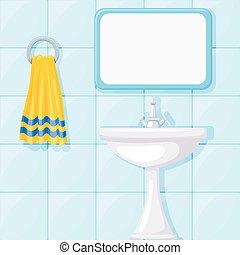 Vector illustration of bathroom ceramic wash basin, tiled walls, mirror and yellow towel.
