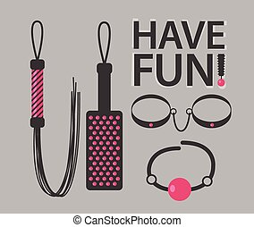 Vector illustration of BDSM toys with Have Fun text