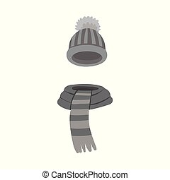 Vector illustration of beanie and scarf icon. Set of beanie...