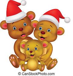 Bear cartoon family wearing red hat