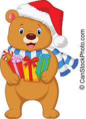 Bear cartoon holding gifts