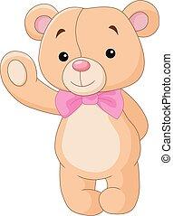 Bear cartoon waving