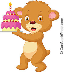 Bear cartoon with birthday cake