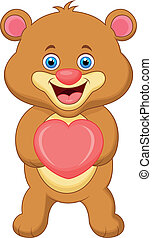 Bear cartoon with heart
