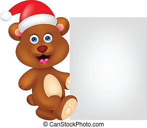 bear cartoon xmas with blank sign