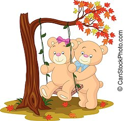 Bear couple in love sitting on a swing under a tree on autumn