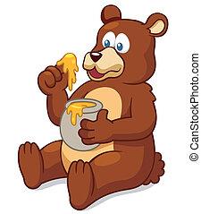 Bear - vector illustration of Bear eating honey vector