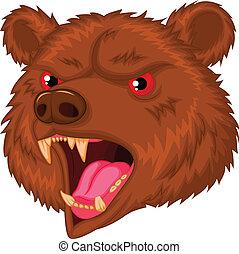 Bear head mascot cartoon character