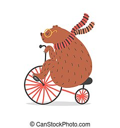 Vector illustration of bear on bicycle. Circus artist doing trick