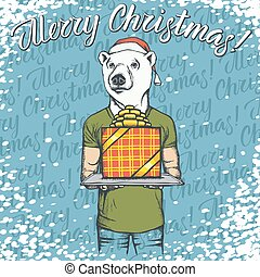 Vector illustration of bear on Christmas with gift