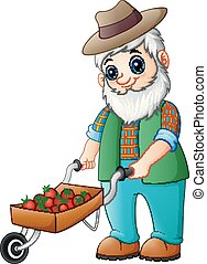 Bearded gardener pushing a strawberry cart - Vector...