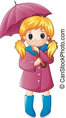 Beautiful autumn girl holding umbrella