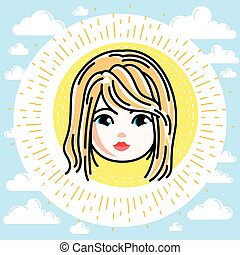 Vector illustration of beautiful blonde girl face, positive face features, clipart.
