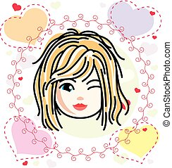 Vector illustration of beautiful blonde happy girl face, positive face features, clipart. Teenager winking.